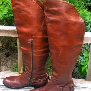 Womens Leather Thigh High Riding Boots size 8